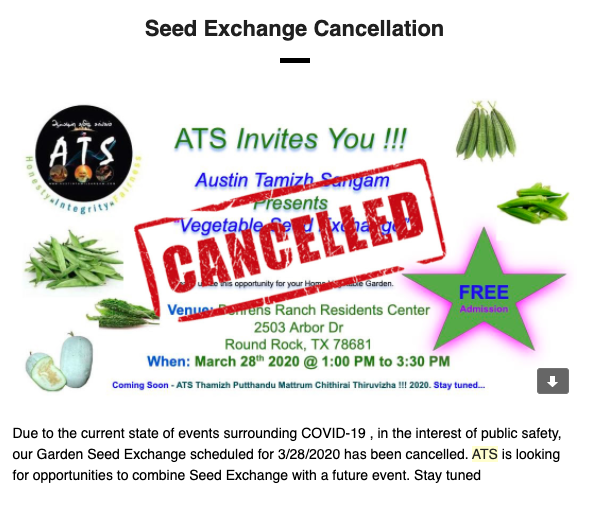Cancelled Seed Exchange -03/28/2020
